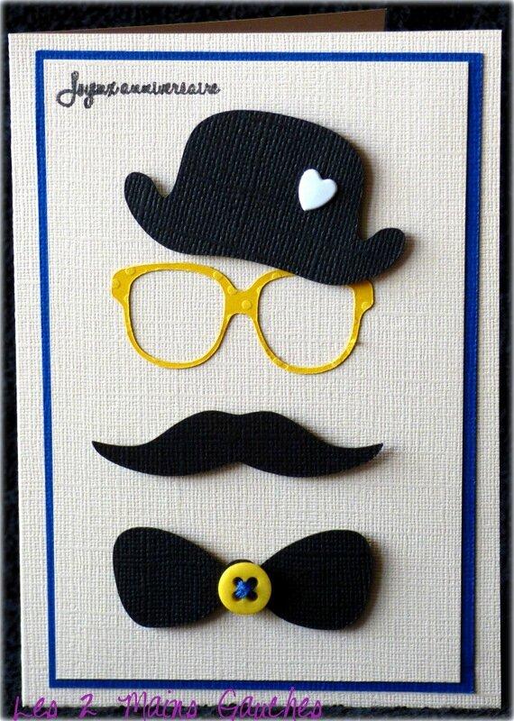 Un Chapeau Melon Des Lunettes Jaunes Une Moustache Un