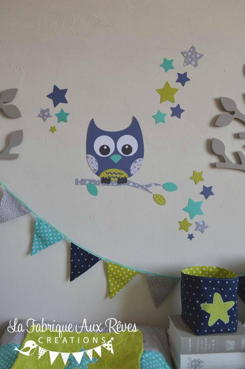 stickers hibou toiles turquoise anis marine gris  dcoration chambre bb garon anis