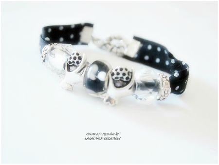 bracelet liberty et perles pandora style noir et blanc