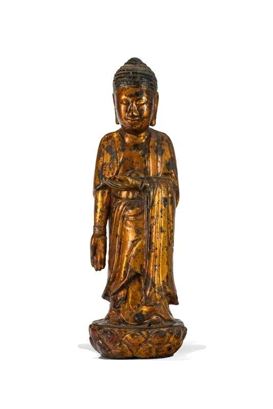 Bouddha debout en bois laqué, Vietnam, XIXe-XXe siècle
