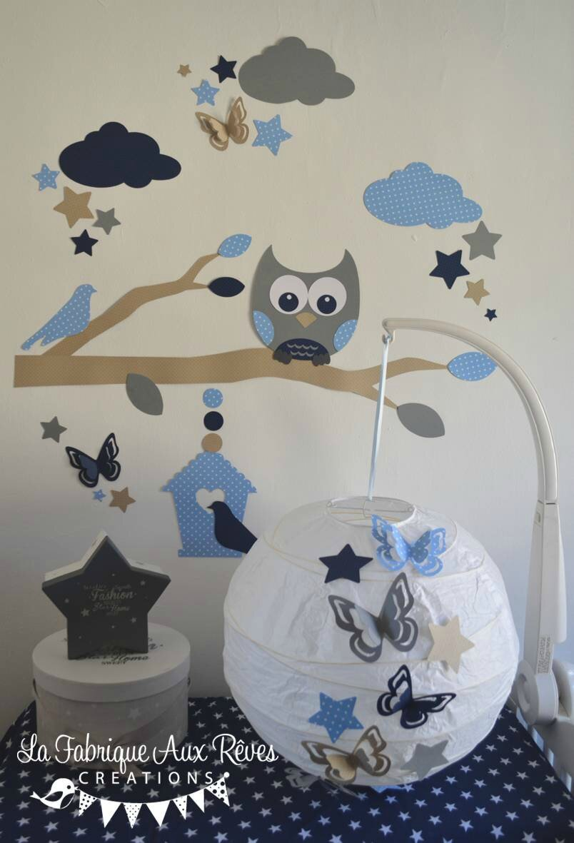 dcoration chambre enfant bb garon hibou chouette branche nuage toiles nichoir bleu marine