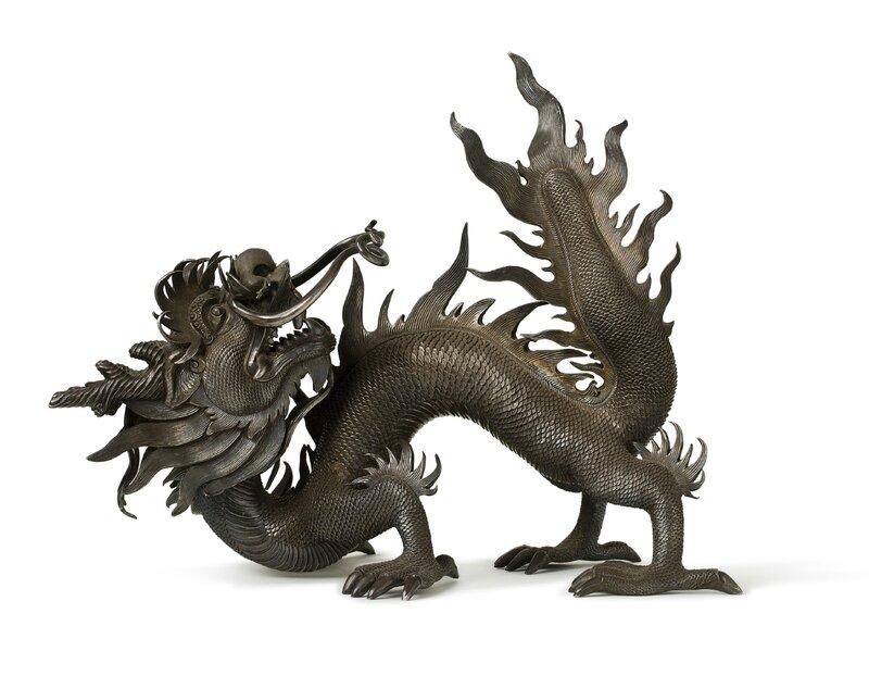 Sculpture de dragon en argent, Vietnam, XIXe siècle