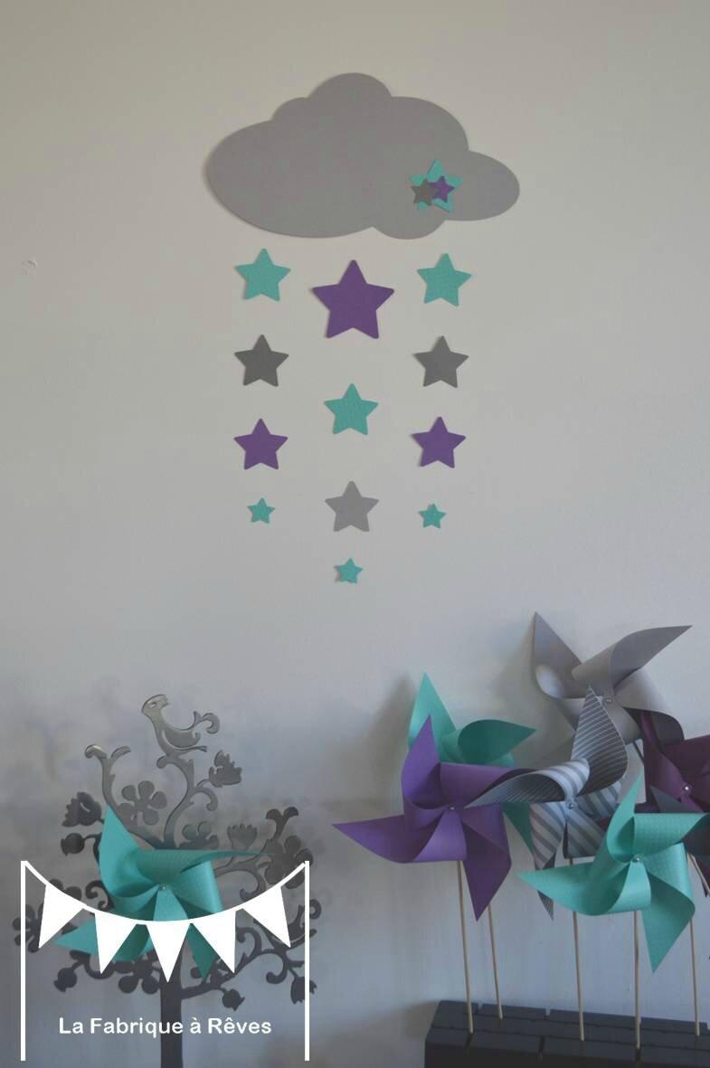 stickers dcoration chambre enfant fille bb garon nuage et toiles violet mauve turquoise