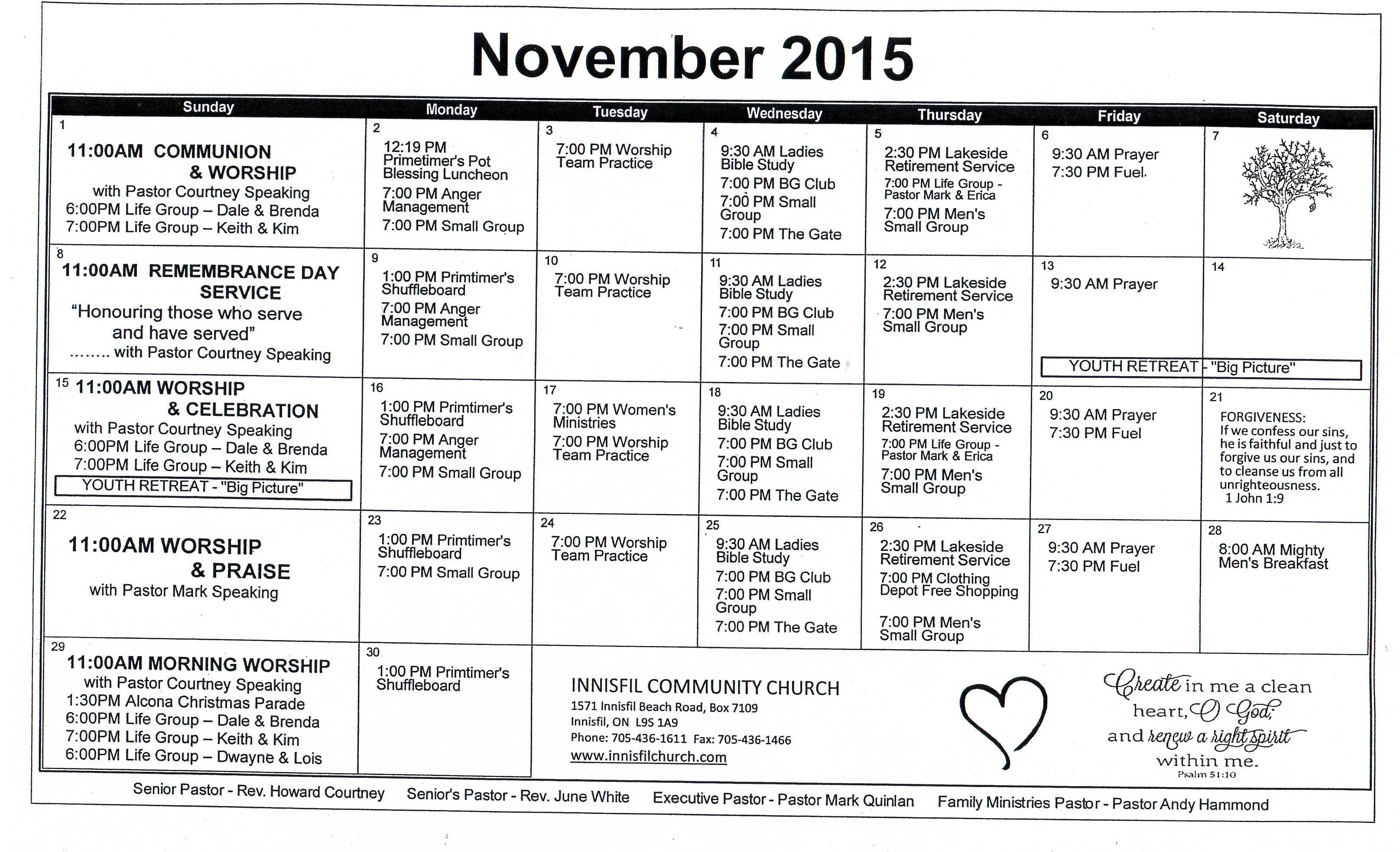 Innisfil Community Church / Calendar / Monthly Calendar