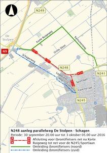 Weekendafsluiting deel provinciale weg (N248) Schagen
