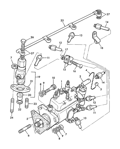 Perkins Diesel Fuel System Diagram : perkins, diesel, system, diagram, L555), STEER, LOADER, (7/81-11/93), (074), PERKINS, 4.108, DIESEL, ENGINE,, INJECTION, LINES, Holland, Constructuion