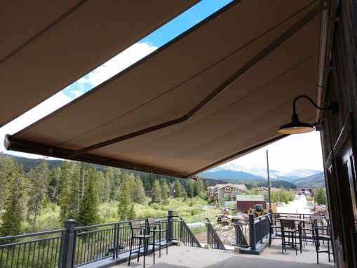 Awning for mountain community center