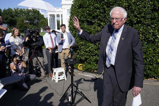 Sen. Bernie Sanders, I-Vt., finishes talking to reporters outside the West Wing of the White House in Washington, Monday, July 12, 2021, following his meeting with President Joe Biden. (AP Photo/Susan Walsh)