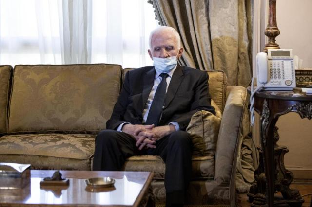 Palestinian Fatah official Azzam Al-Ahmad meets with Egyptian Foreign Minister Sameh Shoukry at the foreign ministry in Cairo, Thursday, May 20, 2021. (AP Photo/Nariman El-Mofty)