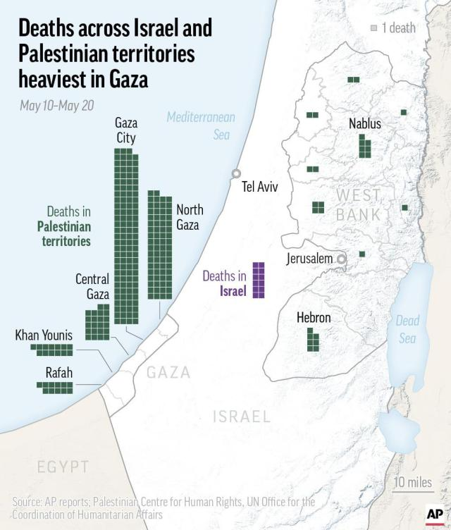 This map shows deaths across Israel and Palestinian territories. The fighting began May 10 when Hamas fired long-range rockets toward Jerusalem after days of clashes between Palestinian protesters and Israeli police at the Al-Aqsa Mosque compound.