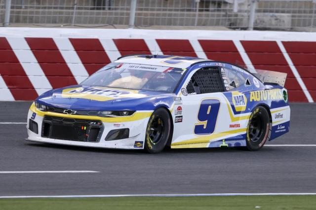 NASCAR Cup Series driver Chase Elliott drives in the NASCAR Cup Series auto race at Charlotte Motor Speedway in Concord, N.C., Sunday, May 30, 2021. (AP Photo/Nell Redmond)