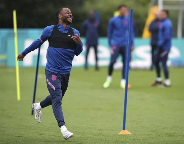 England's Raheem Sterling reacts,  during a training session at Hotspur Way Training Ground in London, Monday June 21, 2021. England  will play Czech Republic in the Euro 2020 tournament on Tuesday. (Nick Potts/PA via AP)