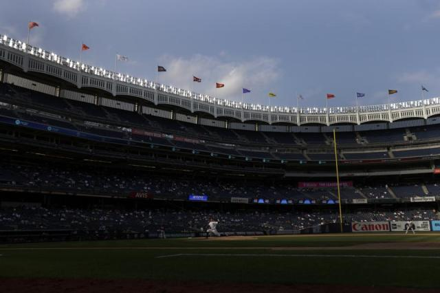 New York Yankees pitcher Andrew Heaney delivers to the Minnesota Twins during the eighth inning of a baseball game on Monday, Sept. 13, 2021, in New York. (AP Photo/Adam Hunger)