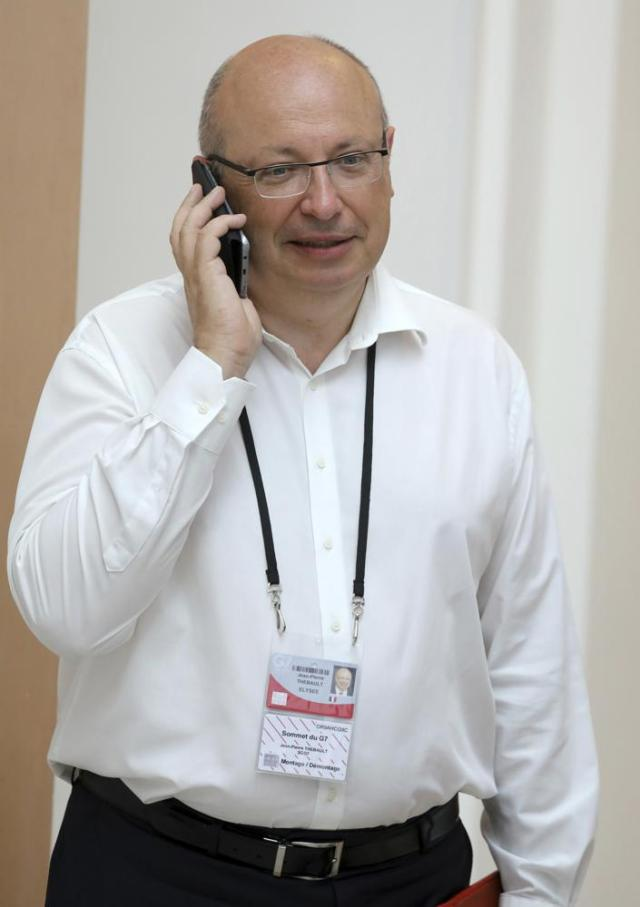 FILE - In this Aug. 25, 2019, file photo, French Ambassador in charge of the G7 summit preparations Jean-Pierre Thebault in Biarritz, southwestern France. Thebault, the French Ambassador to Australia has been recalled to Paris, Friday Sept. 17, 2021, over the surprise cancellation of a submarine contract between Australia and France. (Ludovic Marin/Pool via AP,File)