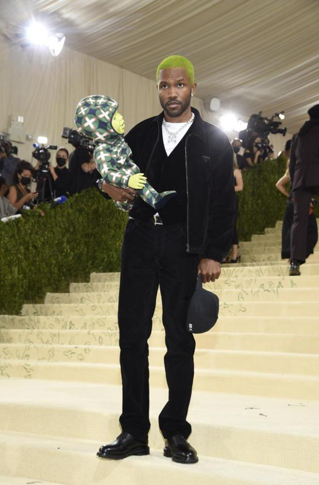 """Frank Ocean attends The Metropolitan Museum of Art's Costume Institute benefit gala celebrating the opening of the """"In America: A Lexicon of Fashion"""" exhibition on Monday, Sept. 13, 2021, in New York. (Photo by Evan Agostini/Invision/AP)"""