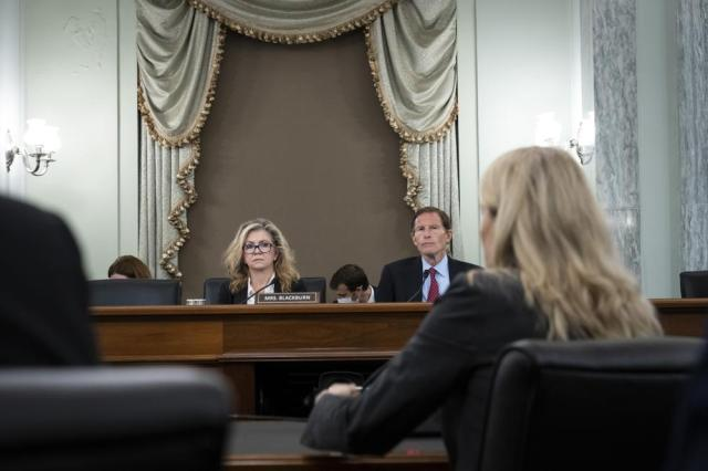 Subcommittee ranking member Sen. Marsha Blackburn, R-Tenn., and subcommittee chairman Sen. Richard Blumenthal, D-Conn., listen during a Senate Committee on Commerce, Science, and Transportation hearing on Capitol Hill on Tuesday, Oct. 5, 2021, in Washington. (Drew Angerer/Pool via AP)