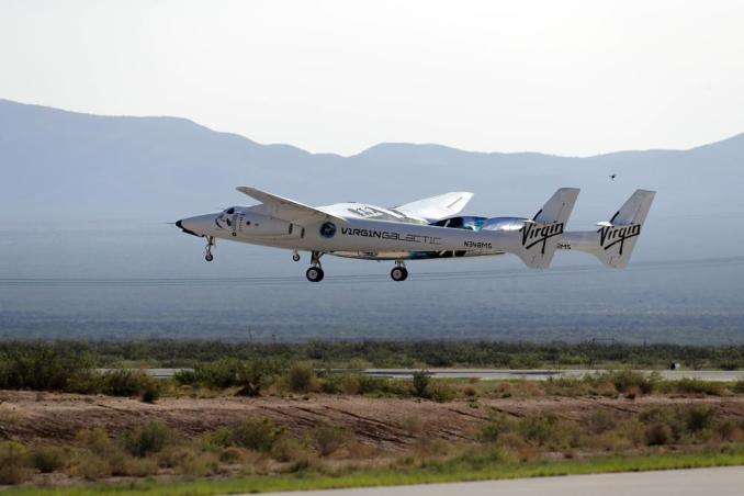 The rocket plane carrying Virgin Galactic founder Richard Branson and other crew members takes off from Spaceport America near Truth or Consequences, New Mexico, Sunday, July 11, 2021. (AP Photo/Andres Leighton)