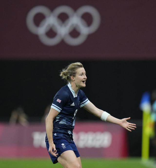 Britain's Ellen White celebrates after scoring her side's opening goal against Chile during a women's soccer match at the 2020 Summer Olympics, Wednesday, July 21, 2021, in Sapporo, Japan. (AP Photo/Silvia Izquierdo)