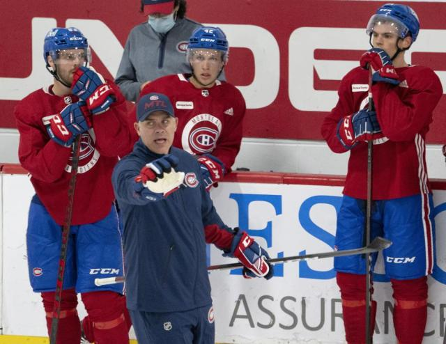 Montreal Canadiens head coach Domenic Ducharme calls out a drill during the first day of on ice training camp   for the NHL hockey team Thursday, Sept. 23, 2021, in Brossard, Quebec. (Ryan Remiorz/The Canadian Press via AP)