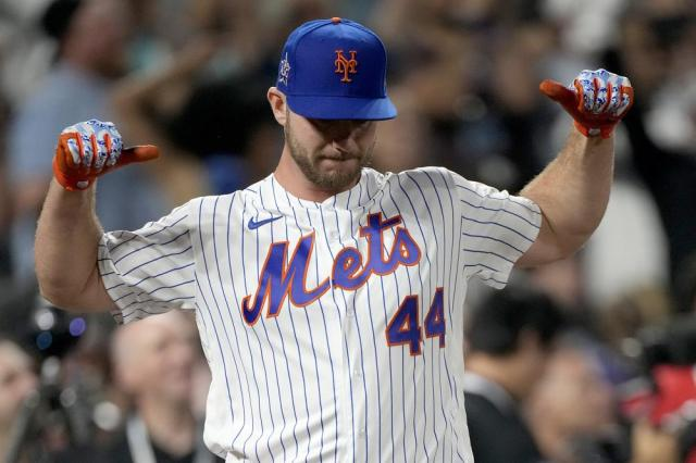 National League's Pete Alonso, of the New York Mets, reacts after winning during the final round of the MLB All Star baseball Home Run Derby, Monday, July 12, 2021, in Denver. (AP Photo/David Zalubowski)