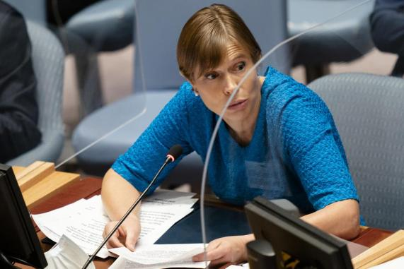 Kersti Kaljulaid, president of Estonia, speaks during a meeting of the United Nations Security Council, Thursday, Sept. 23, 2021, during the 76th Session of the U.N. General Assembly in New York. (AP Photo/John Minchillo, Pool)