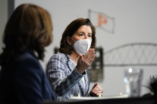 FILE - In this May 5, 2021, file photo Vice President Kamala Harris, left, and Secretary of Commerce Secretary Gina Raimondo participate in a roundtable with women-led small business owners in Providence, R.I. (AP Photo/Andrew Harnik, File)