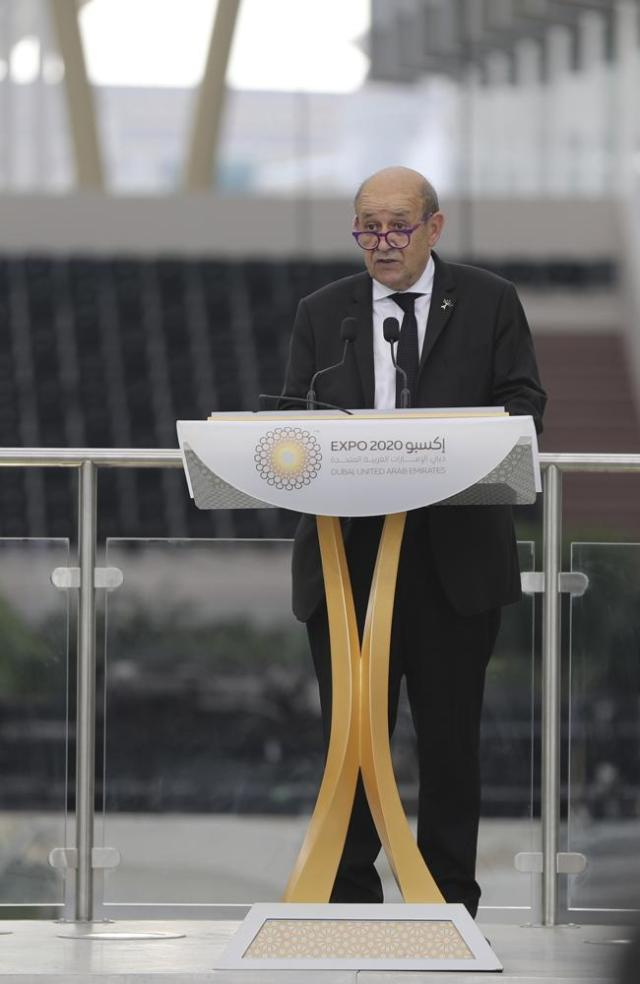 French Foreign Affairs Minister Jean-Yves Le Drian, talks during an official ceremony at Al Wasl Plaza of the Dubai Expo 2020 in Dubai, United Arab Emirates, Saturday, Oct, 2. 2021. (AP Photo/Kamran Jebreili)