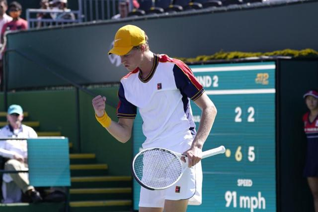 Jannik Sinner, of Italy, reacts after beating John Millman, of Australia, at the BNP Paribas Open tennis tournament Sunday, Oct. 10, 2021, in Indian Wells, Calif. (AP Photo/Mark J. Terrill)