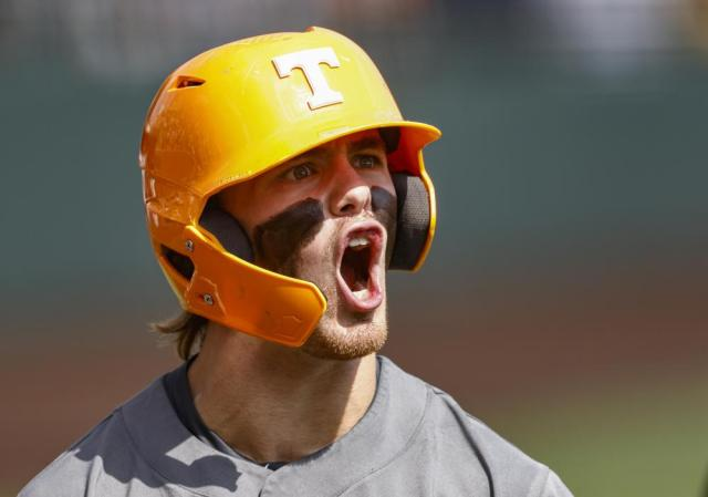 Tennessee utility Drew Gilbert reacts after hitting a home run during an NCAA college baseball super regional game against LSU, Sunday, June 13, 2021, in Knoxville, Tenn. (AP Photo/Wade Payne)