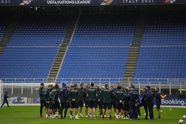 Italy's players attend a training session ahead of Wednesday's UEFA Nations League semifinal soccer match between Italy and Spain, at the Milan San Siro stadium, Italy, Tuesday, Oct. 5, 2021. (AP Photo/Antonio Calanni)