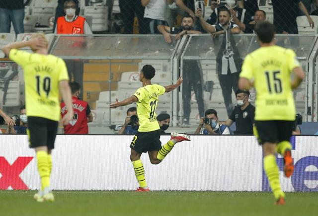 Dortmund's Jude Bellingham celebrates after scoring his side's first goal during the Champions League Group C soccer match between Besiktas and Borussia Dortmund at the Vodafone Park Stadium in Istanbul, Turkey, Wednesday, Sept. 15, 2021. (AP Photo)