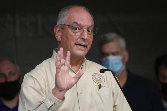 Louisiana Gov. John Bel Edwards speaks during news conference In the aftermath of Hurricane Ida Wednesday, Sept. 1, 2021, in Gretna, La. (AP Photo/David J. Phillip)