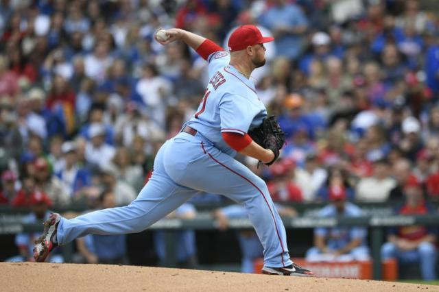 St. Louis Cardinals starter Jon Lester delivers a pitch during the first inning of a baseball game against the Chicago Cubs Saturday, Sept. 25, 2021, in Chicago. (AP Photo/Paul Beaty)