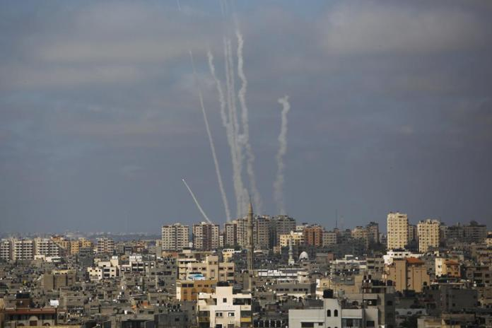 Rockets are launched from the Gaza Strip towards Israel, in Gaza City, Thursday, May 20, 2021. (AP Photo/Hatem Moussa)