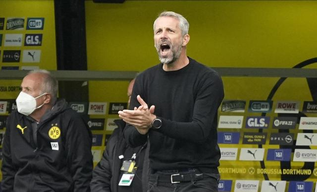 Dortmund's head coach Marco Rose reacts during the German Bundesliga soccer match between Borussia Dortmund and FC Augsburg in Dortmund, Germany, Saturday, Oct. 2, 2021. (AP Photo/Martin Meissner)