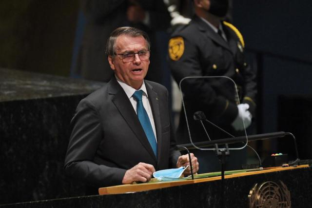 Brazil's President Jair Bolsonaro addresses the 76th Session of the U.N. General Assembly, Tuesday, Sept. 21, 2021, at United Nations headquarters in New York. (Timothy A. Clary/Pool Photo via AP)