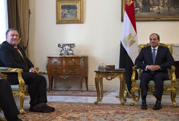 U.S. Secretary of State Mike Pompeo, left, meets with Egyptian President Abdel-Fattah el-Sissi in Cairo, Egypt