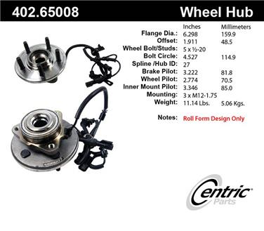 2007 Ford Explorer Sport Trac Axle Bearing and Hub