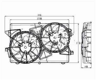 Replacement Dual Radiator and Condenser Fan Assembly For