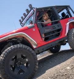 red offroad jeep wrangler jk two door with aluminum tube doors  [ 1250 x 833 Pixel ]