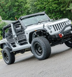 white custom jeep wrangler jk with jeep doors trailcrusher bumper and fender flares [ 1250 x 833 Pixel ]