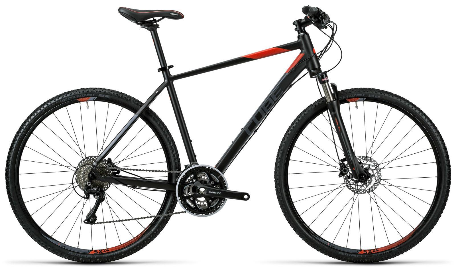 Cube Cross black grey flashred Trekkingräder Crossrad