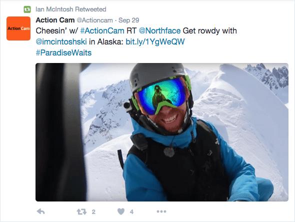 Twitter screenshot of Ian McIntosh wearing a Original Buff® as Balaclava under his ski helmet