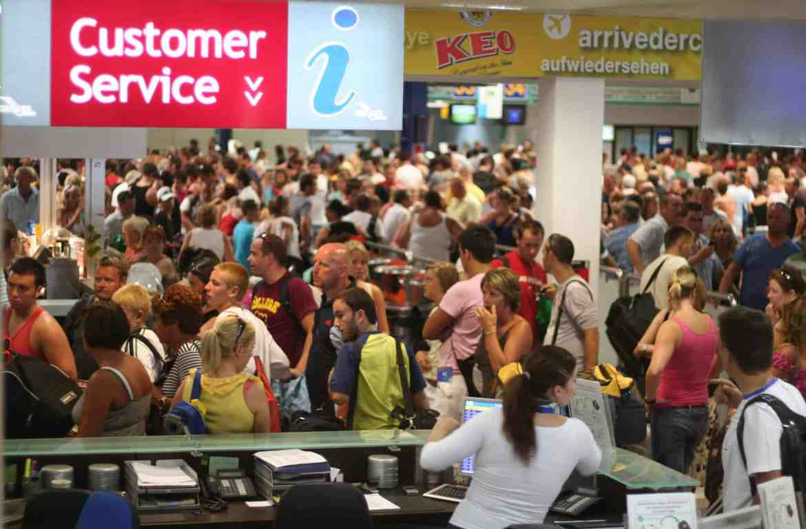 Airport delay: a crowded airport terminal busy with delayed travellers after an air traffic control problem in Cyprus. credit - 2008 Mark Hodson / Flikr / ccby 2.0 www.101holidays.co.uk