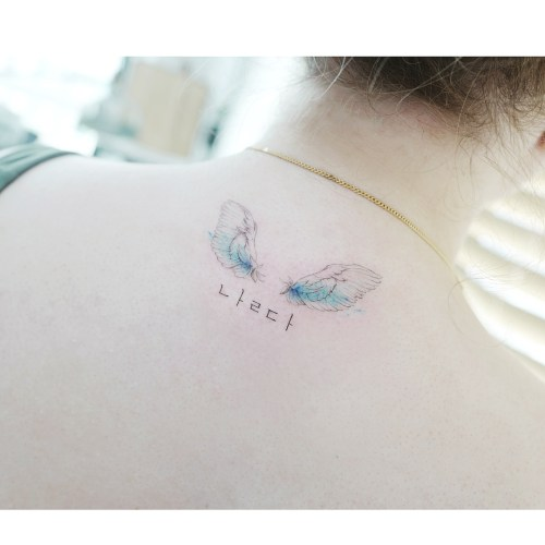 Angel wings tattoo on the back by Banul