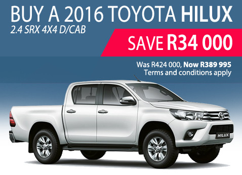 2016 Toyota Hilux 2.4 SRX 4X4 Doube Cab special - Save R34 000