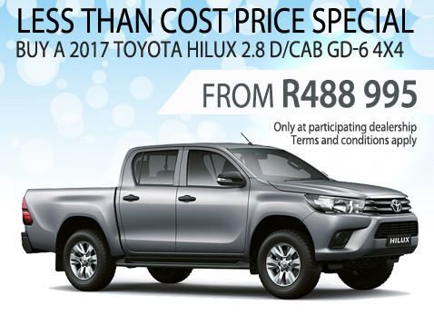 2017 Toyota Hilux 2.8 Double Cab GD-6 4X4 less than cost special