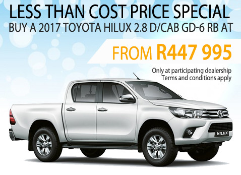 2017 Toyota Hilux 2.8 D/CGD-6 RB less than cost