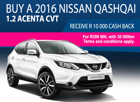 2017 Nissan Qashqai 1.2 Acenta - Get R10 000 Cash back.