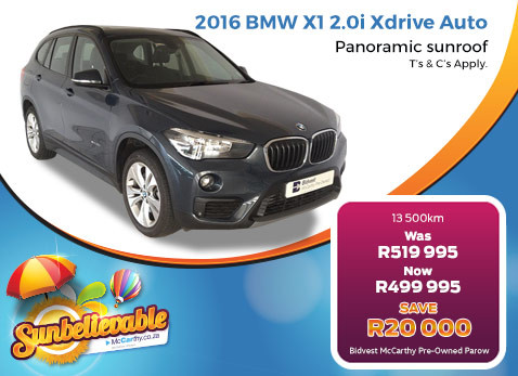 2016  BMW  2016 BMW X1 2.0I XDRIVE AUTO - Save R20 000